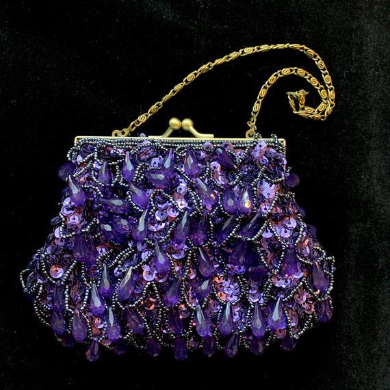 【used】purple bejou hand bag / パープルビジューハンドバッグ