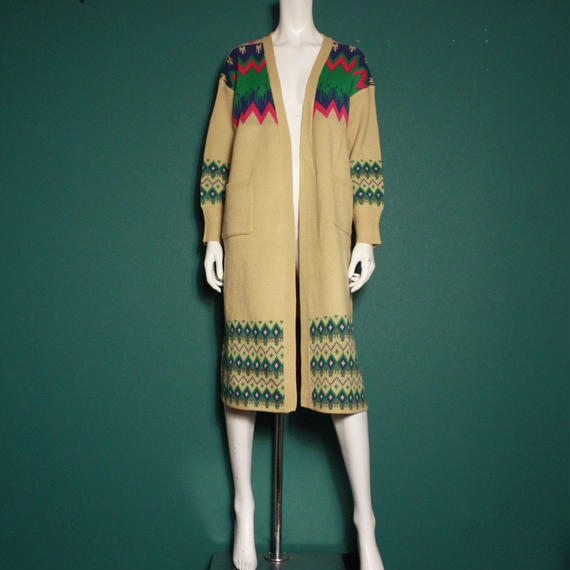 【migration】Native pattern colorful long knit / ネイティブ柄カラフルロングニット