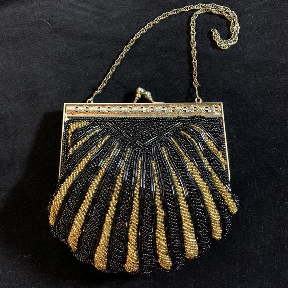 Vintage black×gold beads hands bag / ビーズハンドバッグ