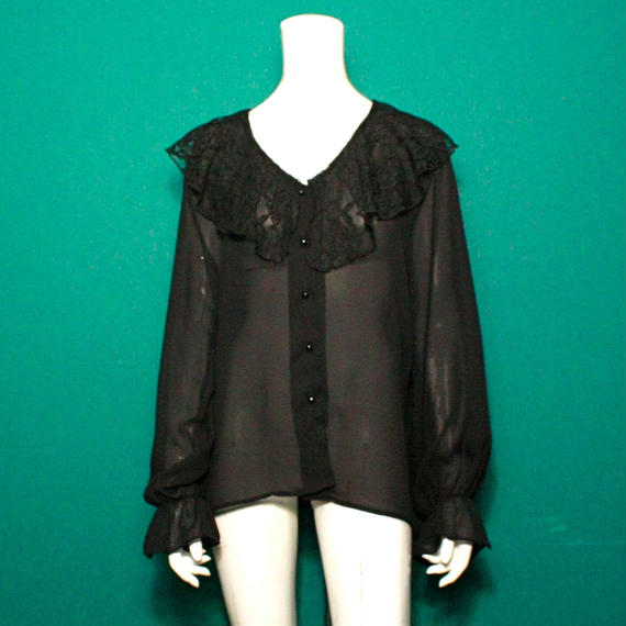 1980's Vintage 【marmie west】Big lace collar blouse / レース襟シースルーブラウス