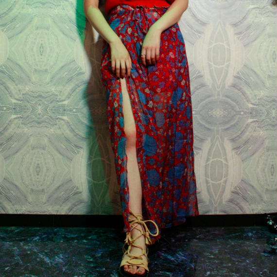 【migration】Flower Chiffon Pants / RED