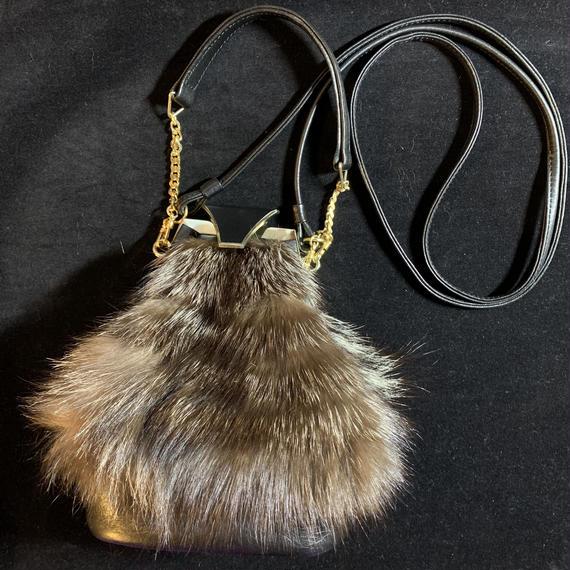 Vintage fur design shoulder bag / ファーショルダーバッグ