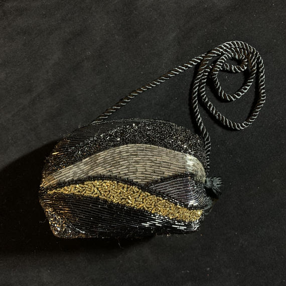 Vintage Black beads shoulder bag / 総ビーズショルダーバッグ