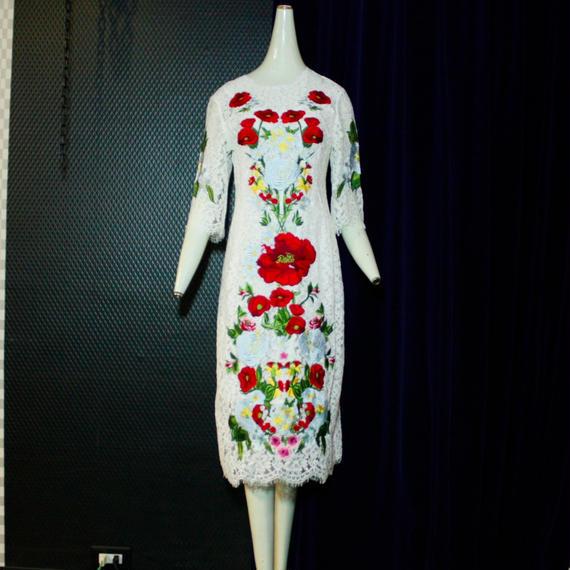 お花刺繍レースドレス/white
