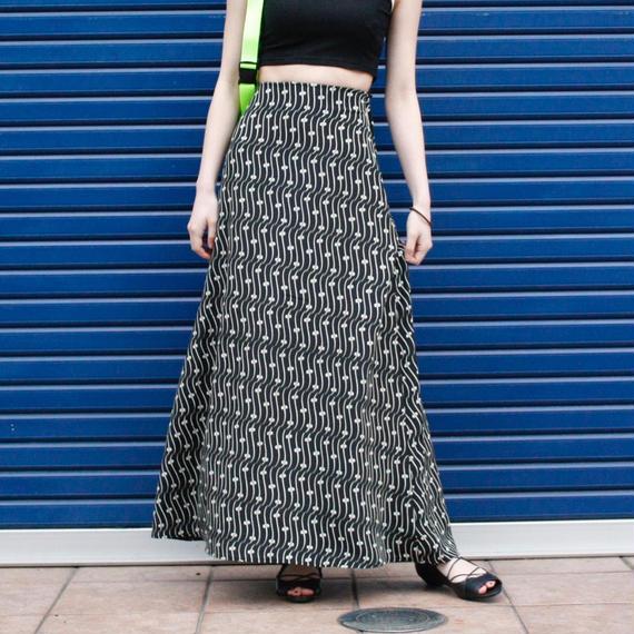 【Vintage】1980's DECKED OUT Geometric print long skirt / ジオメトリックプリントロングスカート