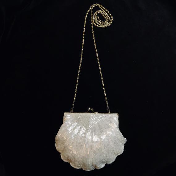 Shell desidn beads shoulder bag / 貝殻デザインビーズバッグ