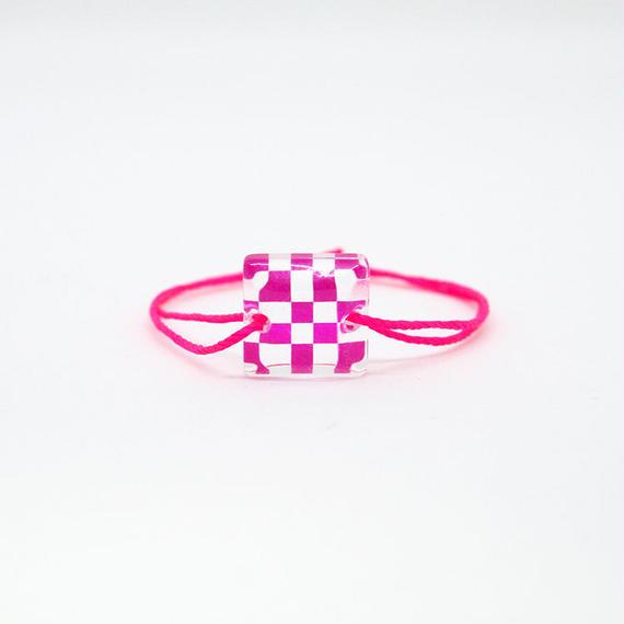[KIDS] SKELE MONブレスレット/ICHIMATSU(市松)PINK×CLEAR (W10095AK-ICHI-PK)