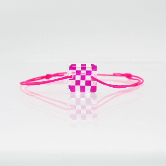 SKELE MONブレスレット/ICHIMATSU(市松)PINK×CLEAR (W10095A-ICHI-PK)