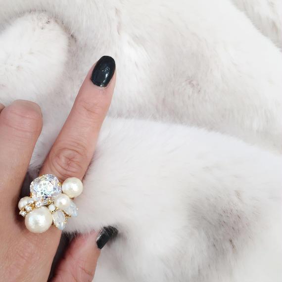 cristal white patina Ring
