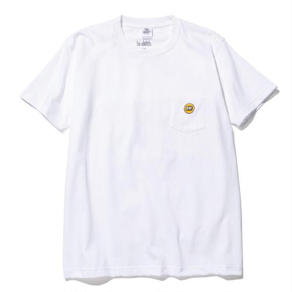 hi-dutch x BLOCKHEAD MOTORS ワンポイント刺繍Tシャツ(ホワイト)