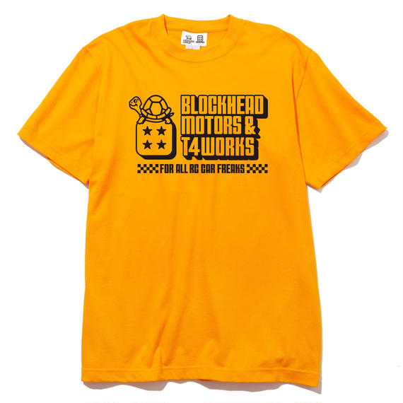 T4 x BLOCKHEAD MOTORSコラボTシャツ/ブロックヘッドイエロー