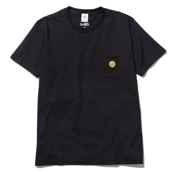 hi-dutch x BLOCKHEAD MOTORS ワンポイント刺繍Tシャツ(ブラック)