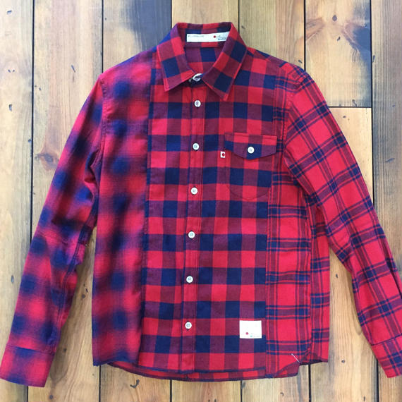 INDIGO CHECK SHIRT CRAZZY【RED】/ BS-SH12