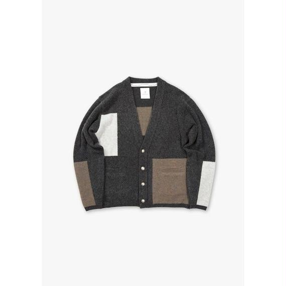 MULTI COLOR BRUSHED CARDIGAN / CHARCOAL