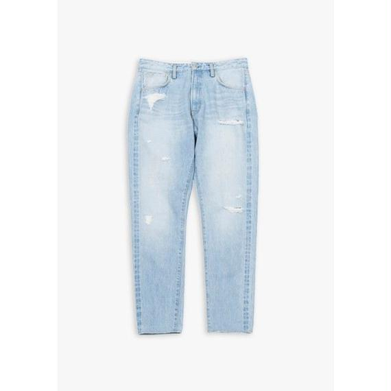14oz TAPERED DAMAGED JEANS / SAX