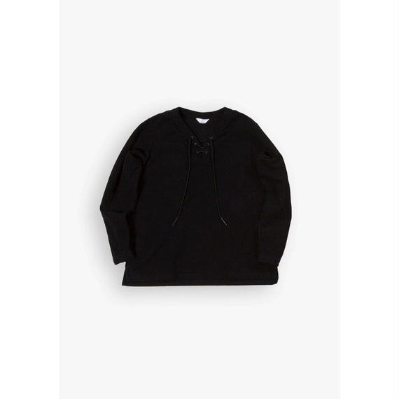 LACE UP SHIRT / BLACK