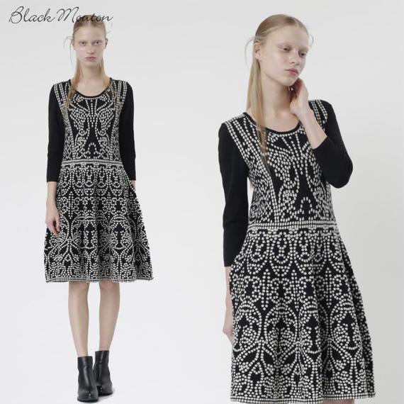 ジャカードニットドレス  c/#WHITE×BLACK  55465-139
