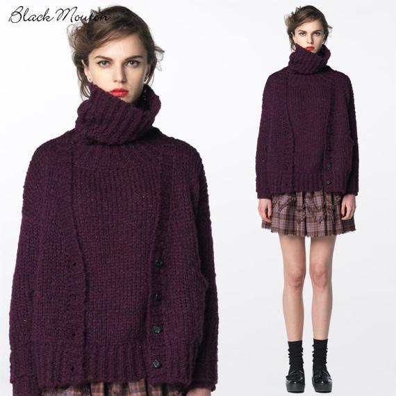モヘアハンドニットタートルセーター  c/# WINE  15376-110