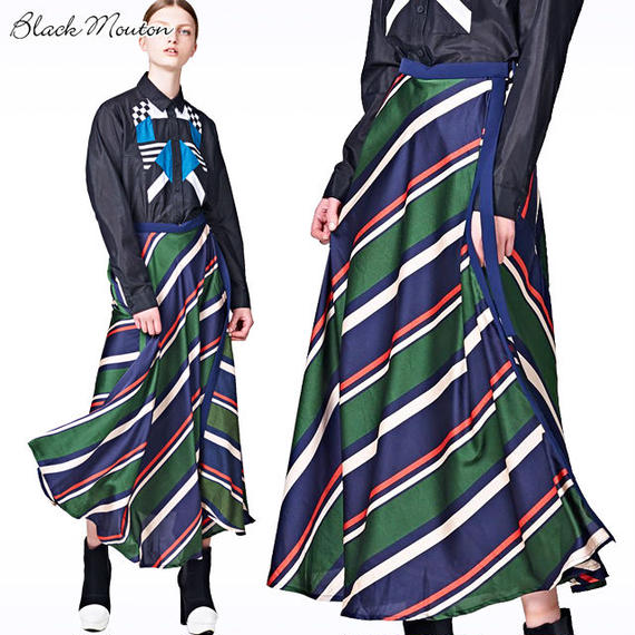 ストライプサテンフレアスカート  c/#GREEN  75636-100