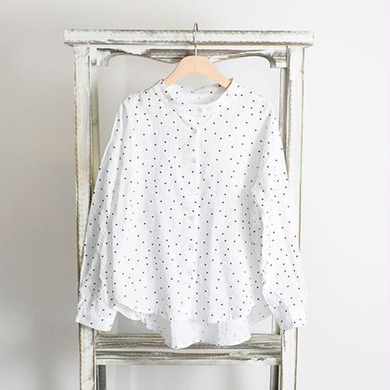 [0805tp]ドット柄ノーカラーシアサッカーシャツ