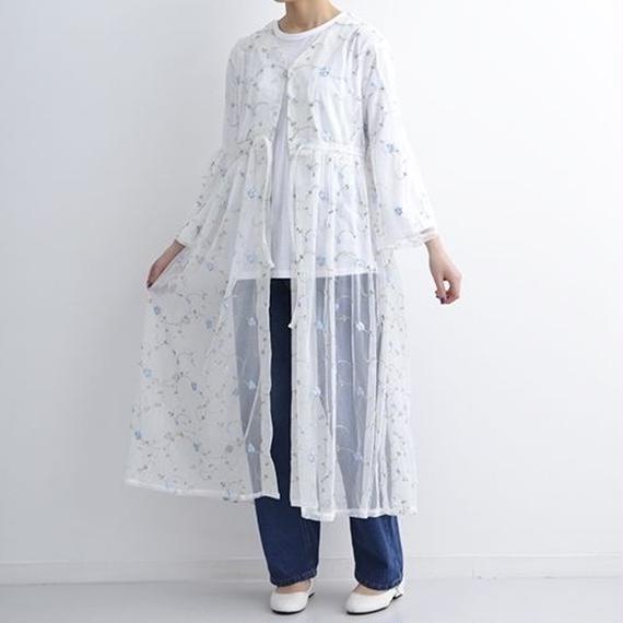 [1126op]花刺繍ロングレーシーカーデガウン