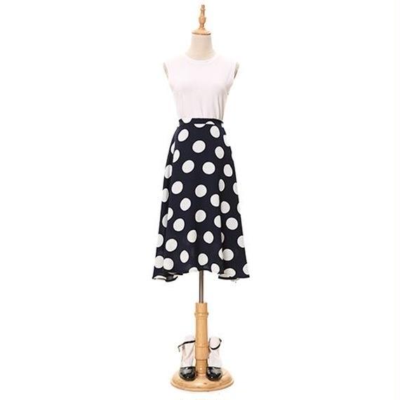 [0758sk]ドッド柄Aラインスカート