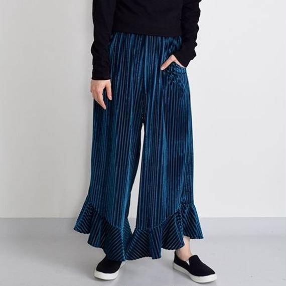 [0900pts] ベロア裾切替ワイドパンツ