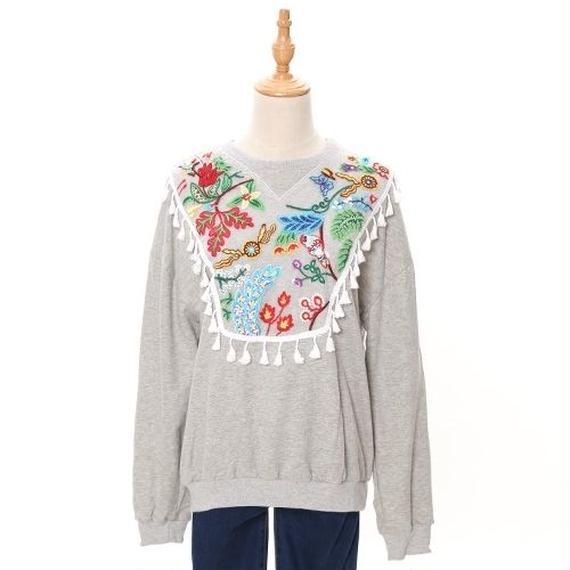 [0657tp]お花刺繍のスウェットプルオーバー