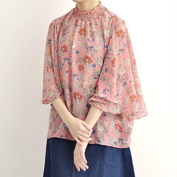 [1120tp]ボタニカル花柄プリントドレープ袖ブラウス