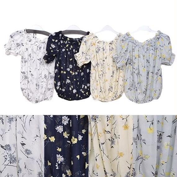 [0417tp]花柄シフォンtops
