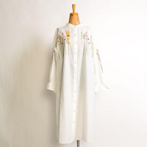 [1040op]カラフルお花刺繍バンドカラーワンピース