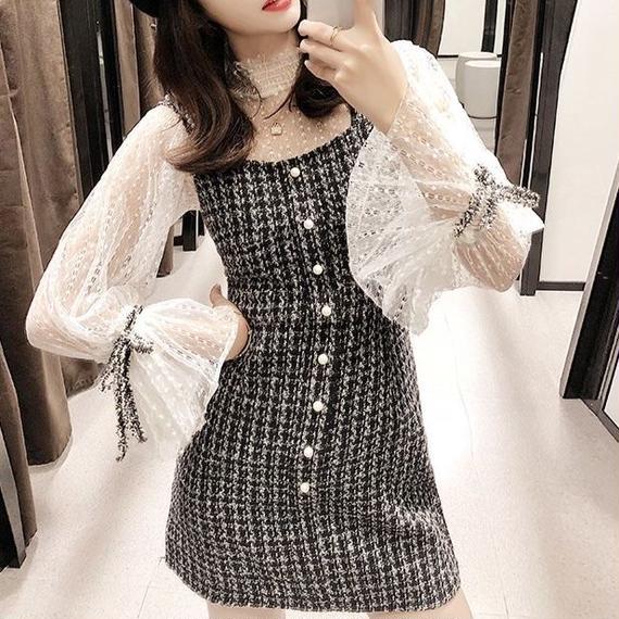 tulle blouse & tweed OP(No.300489)