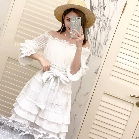 off-shoulder chic lace OP(No.300418)