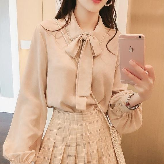 spring color chiffon blouse(No.300595)