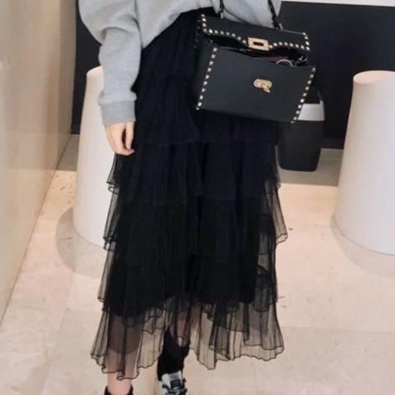 tulle frill long skirt(No.300359)