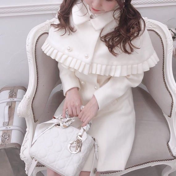 一部即納♡2way cape white coat(No.300549)