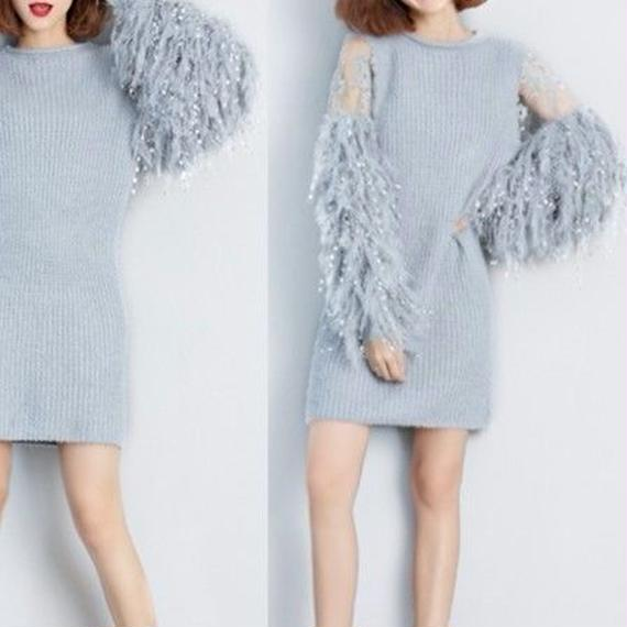 Fur-sleeve Sweet Knit Onepiece (No.300227)