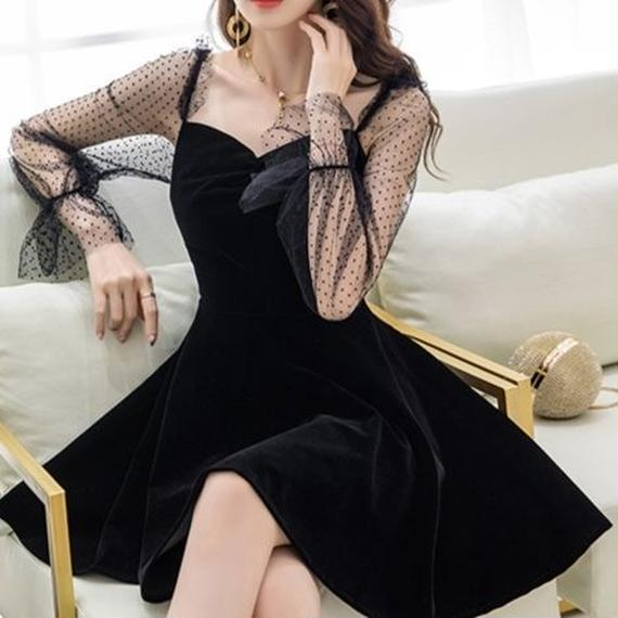 dot tulle sleeve OP(No.300589)