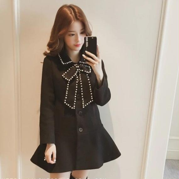 Retro ribbon coat one-piece (No.300322)