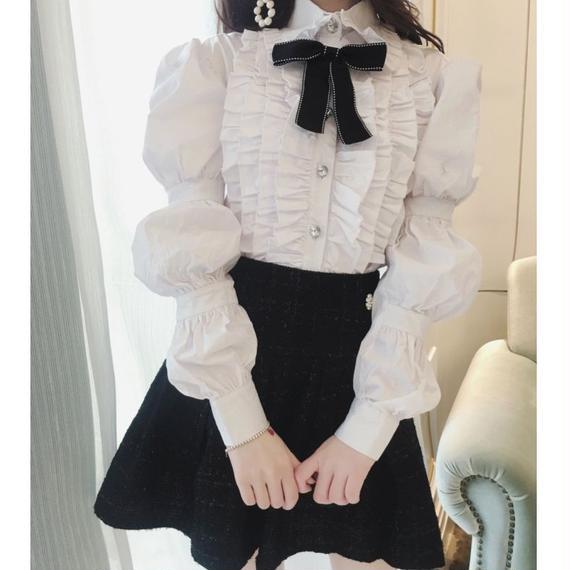 volume sleeve blouse & skirt set(No.300556)
