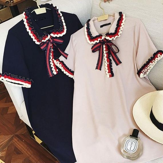 Tricolor collar one-piece (No.300285)