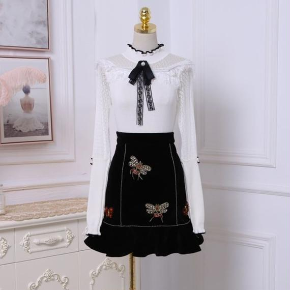 bee skirt & ribbon kint tops(No.300499)