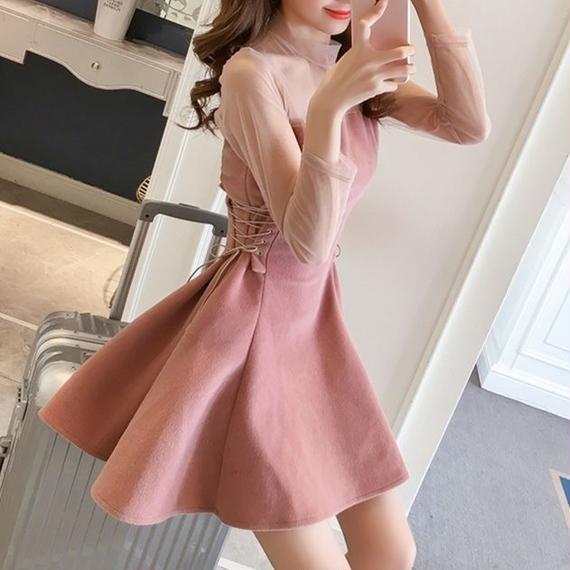 Lace-up velour dress (No.300292)