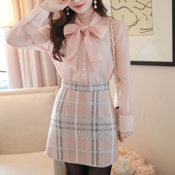 pink blouse & check skirt set-up(No.300571)