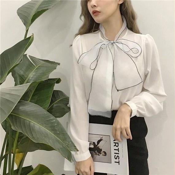 Volume ribbon blouse (No.300308)
