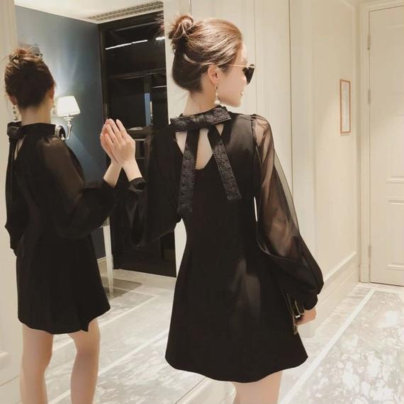 Back ribbon black dress (No.300313)
