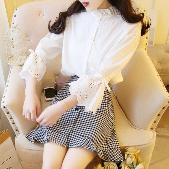 cotton blouse &  check skirt set-up(No.300367)