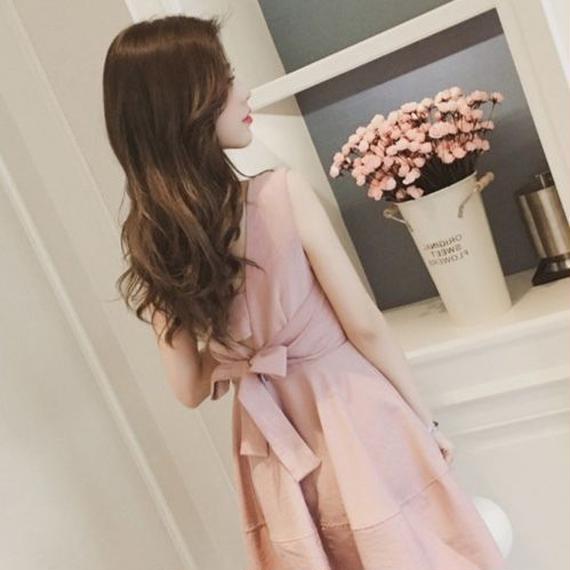 Back ribbon little dress(No.300374)