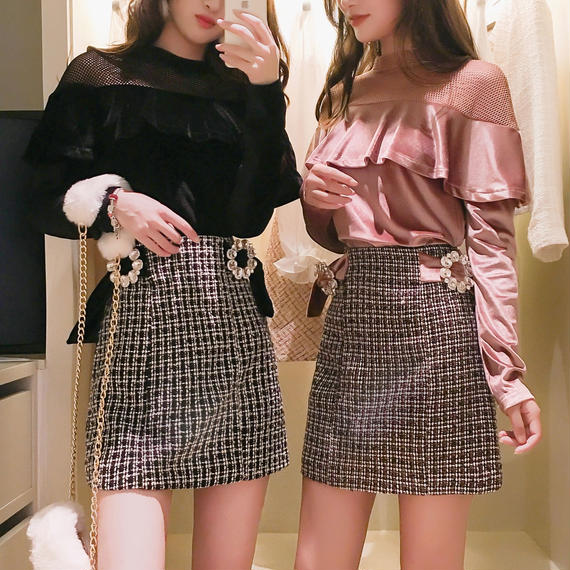 velour frill tops & tweed skirt set(No.300538)