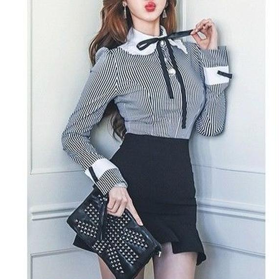 Lady shirts & frill skirt set (No.300309)